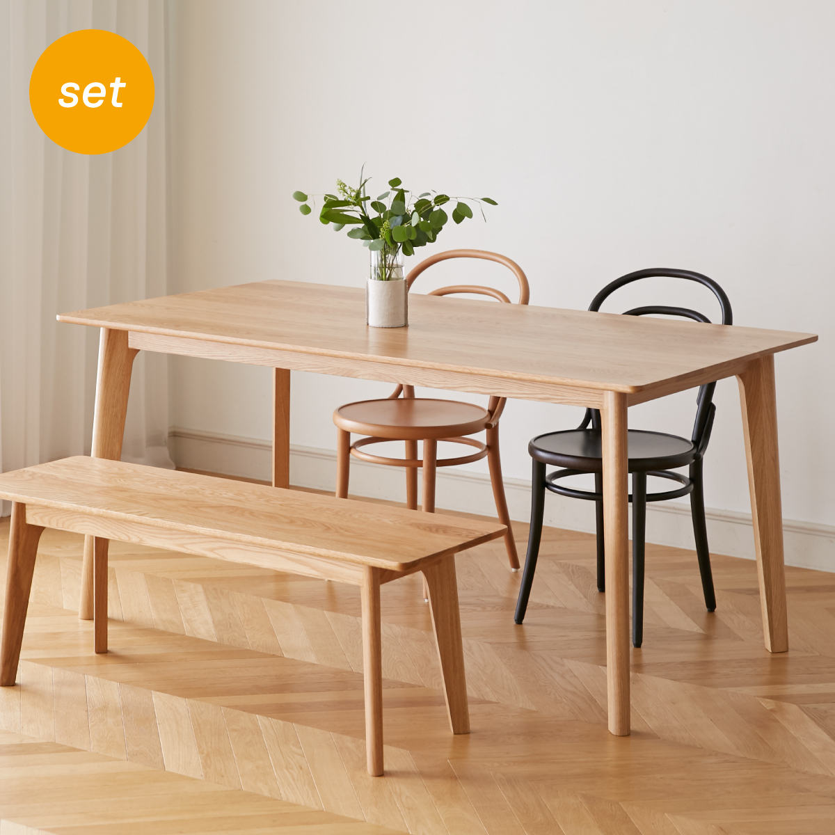 [세트 5%] Original Oak Rectangle Leg 테이블 세트