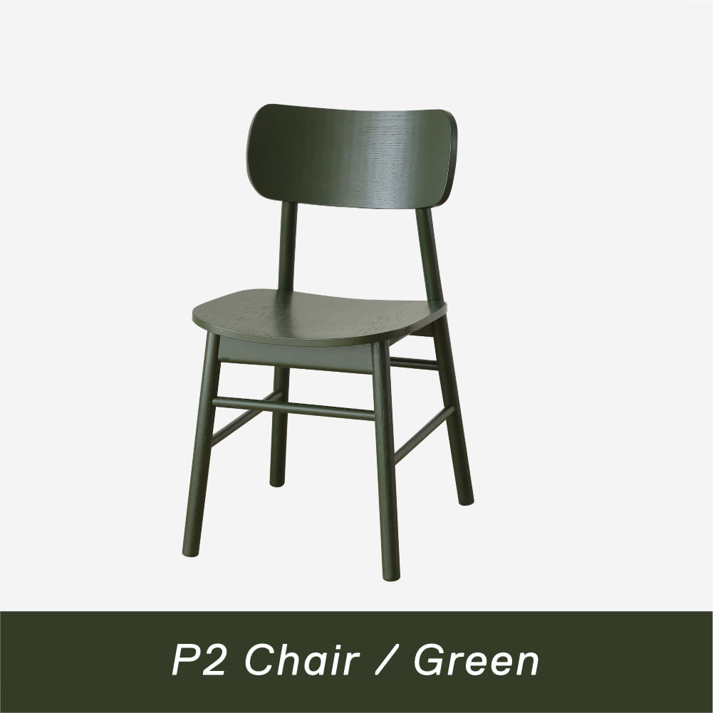 [Refurb Market ~50%] Oblique Stick Leg P2 Chair / Green